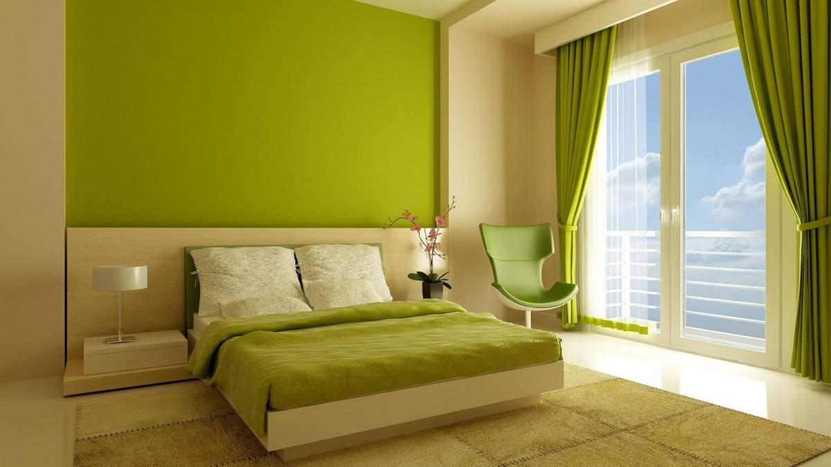 Зелений та білий роблять кімнату дуже світлою