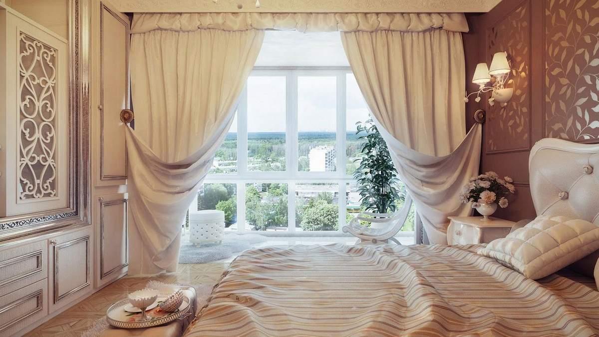 Як вибрати штори для спальні: види, кольору і типи установки