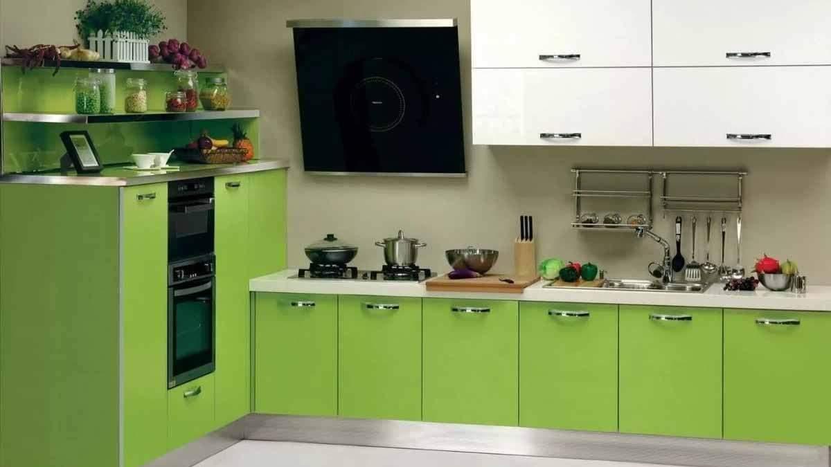 Салатовая кухня – цвет стен, дизайн интерьера, какие обои подойдут