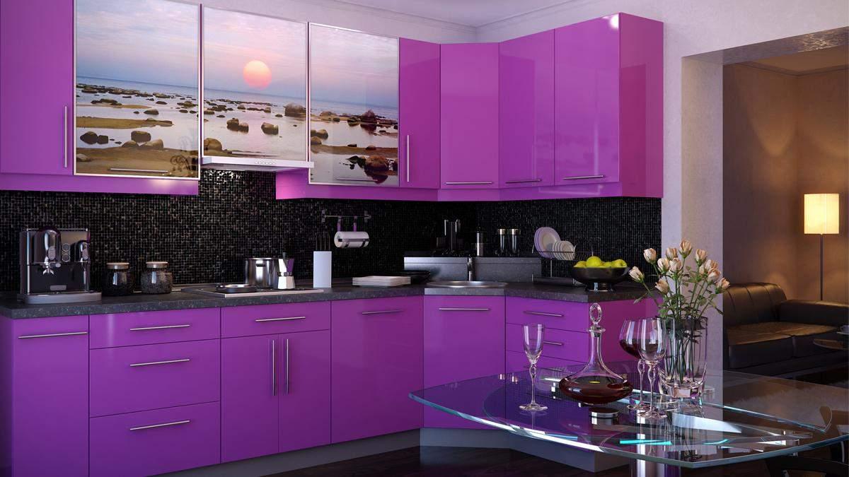 Кухня в фиолетовом цвете – сочитание цветов, дизайн фиолетовой кухни
