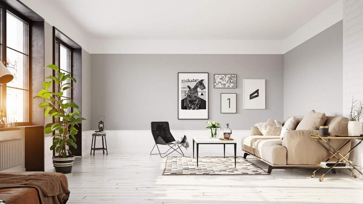 Сіра вітальня – поєднання кольорів, дизайн вітальні в сірому кольорі