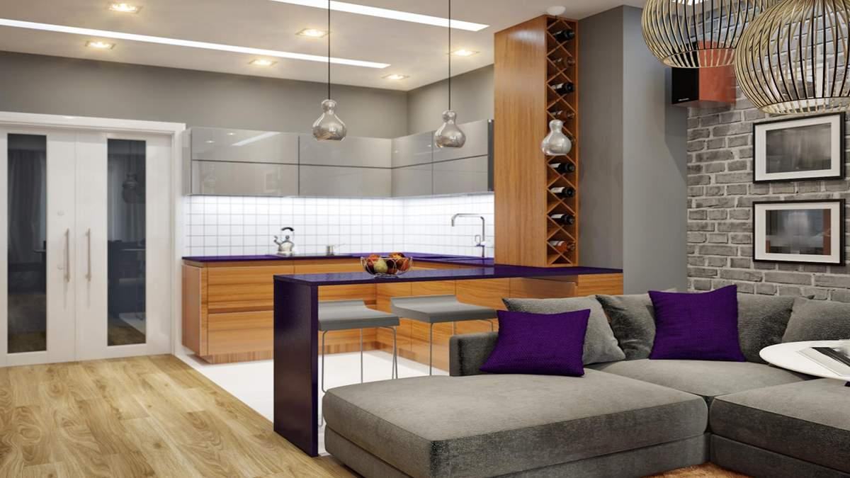 Кухня студія: дизайн, фото ідеї оформлення, плюси і мінуси