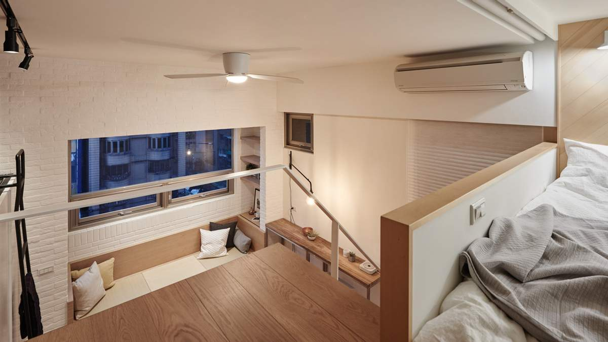 Спальные места расположены на втором уровне