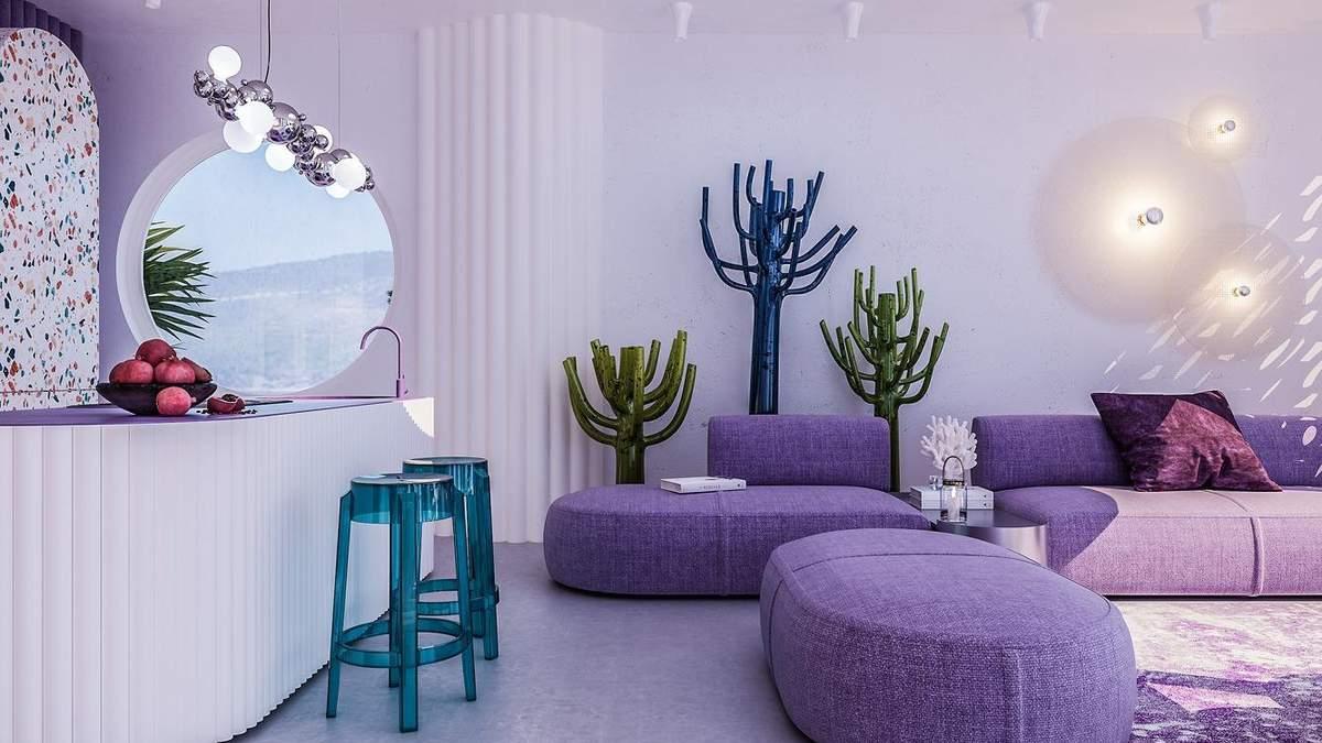 Головним кольором в інтер'єрі є фіолетовий