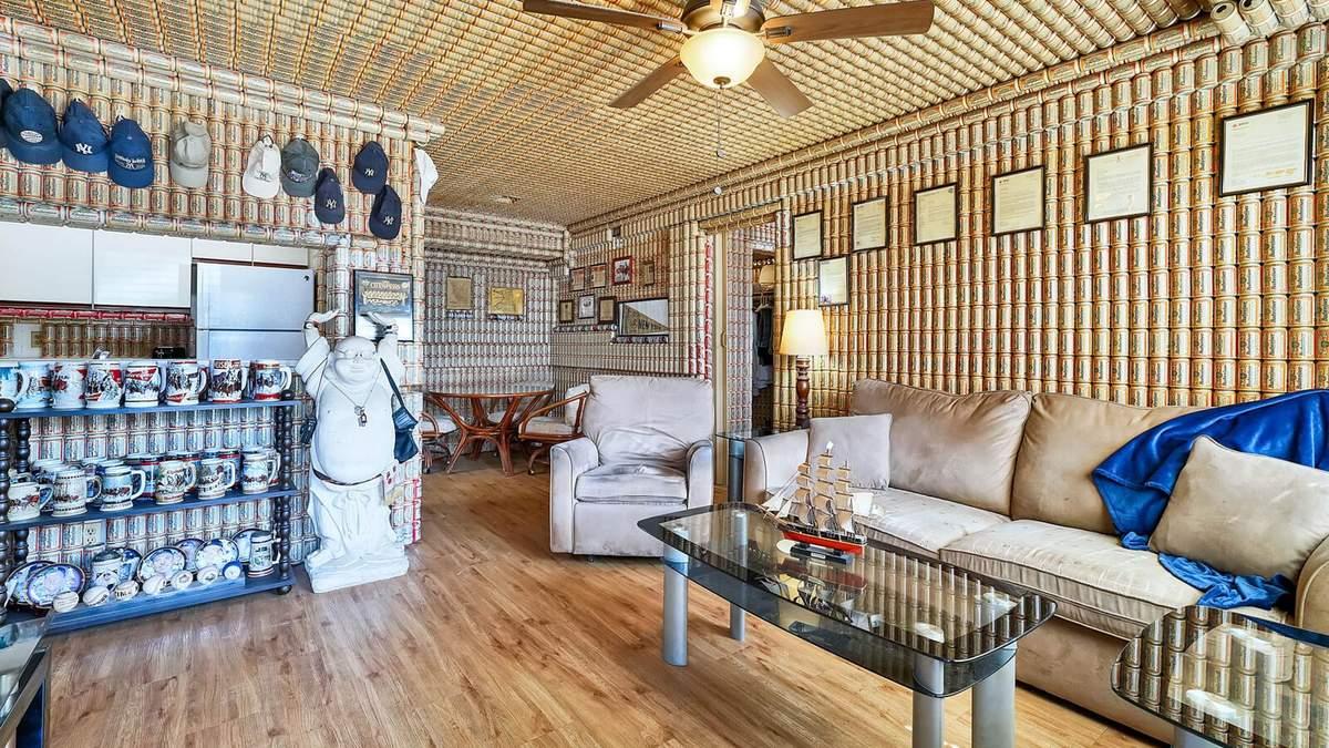 Дім з пивних банок: фото інтер'єру будинку в США, власники якого матимуть довічний запас пива