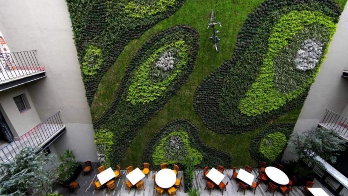 На зеленой стене создали узоры из растений