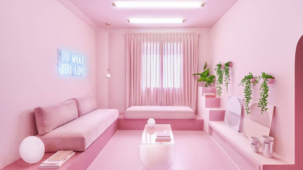 Безумный дизайн: как выглядит полностью розовая квартира в Мадриде – фото интерьера