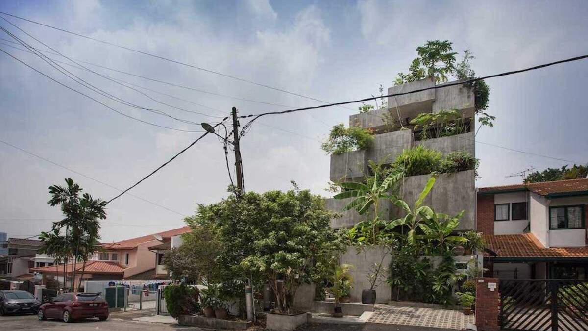 Дім-вазон з бетонних кубів: як виглядає незвична споруда в Куала-Лумпурі