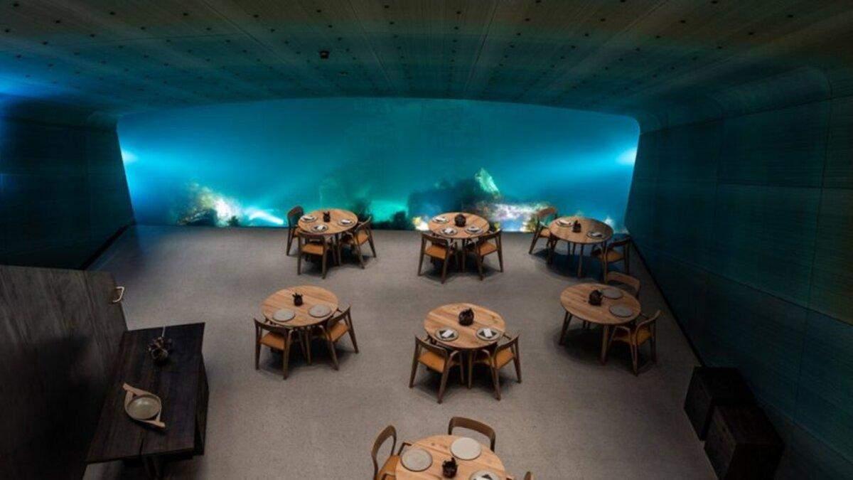 Под водой: ресторан в Норвегии выиграл престижный конкурс за освещение, которое привлекает рыб