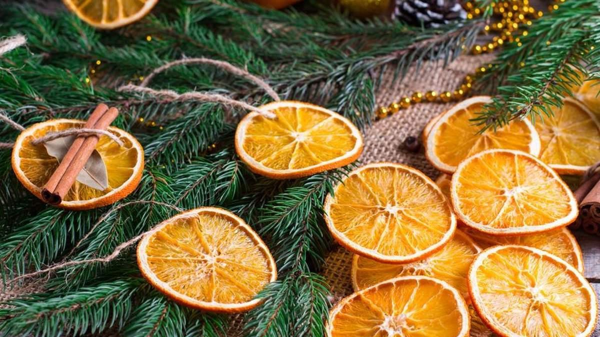 Декор із сушених апельсинів