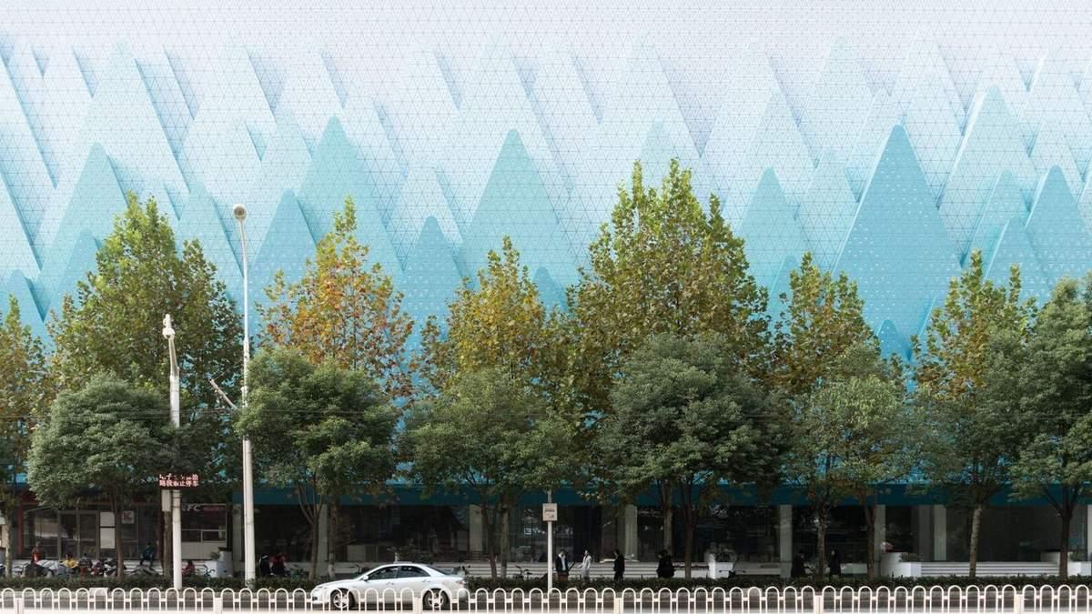 Гірський хребет в центрі міста: фото оригінального фасаду книжкової крамниці в Китаї