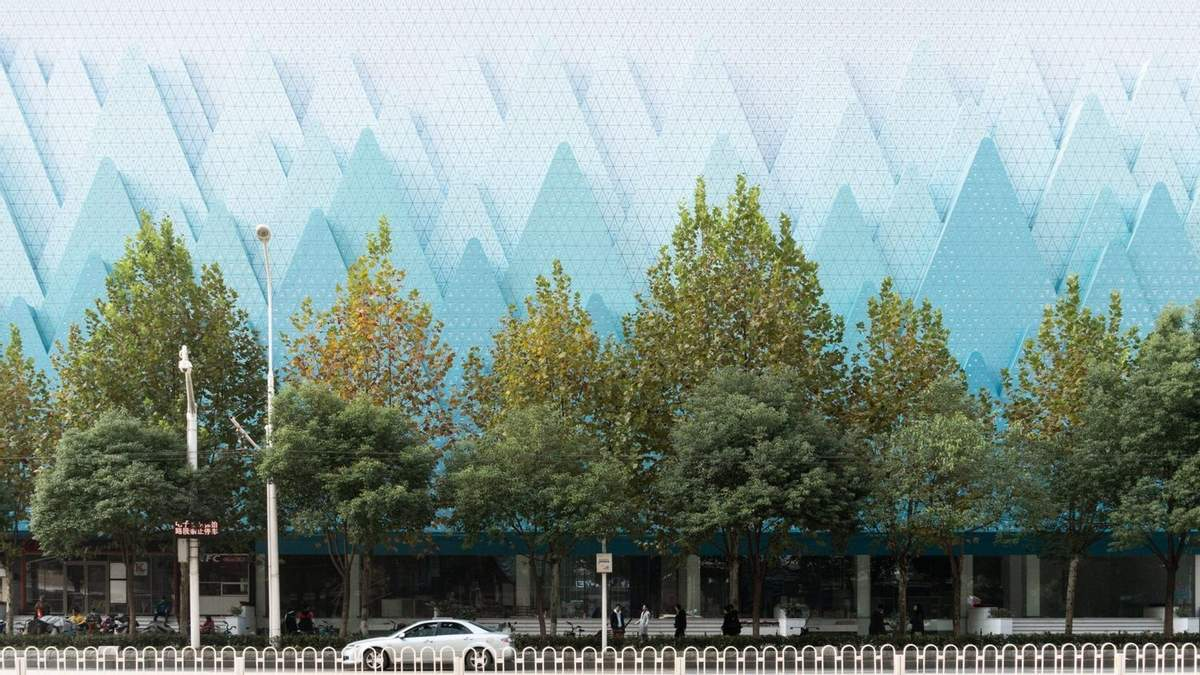 Горный хребет в центре города: фото оригинального фасада книжного магазина в Китае