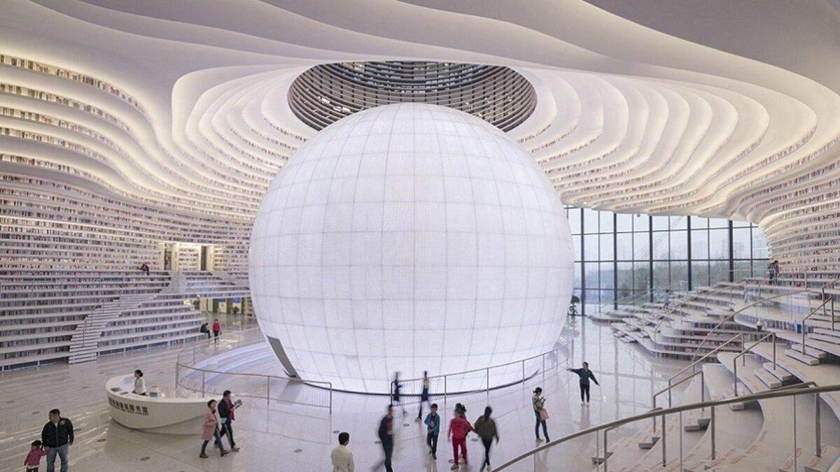 Футуристична біла бібліотека в Китаї: фото інтер'єрів