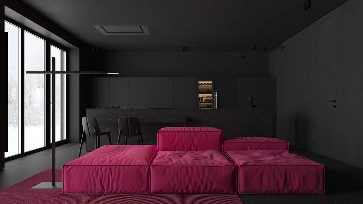 """Как выглядит черный интерьер киевской квартиры с розовой """"жемчужиной"""": фото"""
