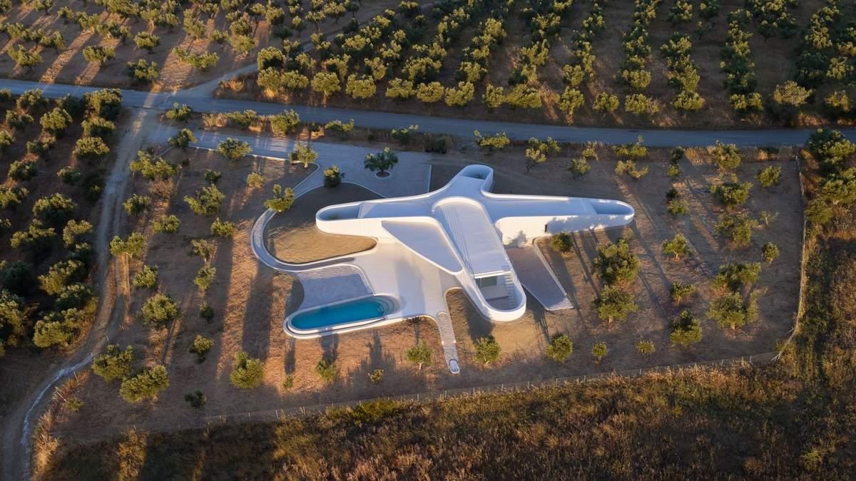 Будинок-літак, що загубився в оливкових садах Греції: фото мінімалістичного проєкту