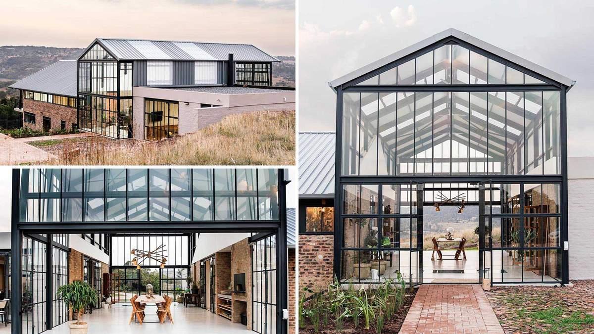 Утонченная красота: уютный дом с масштабной стеклянной оранжереей