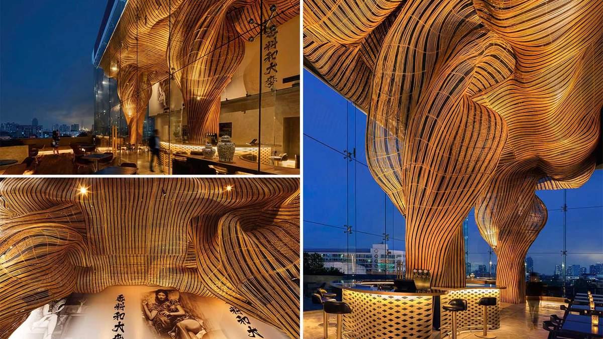 Волшебный фасад: в Таиланде создали ресторан с удивительными скульптурными формами из ротанга - Дизайн 24