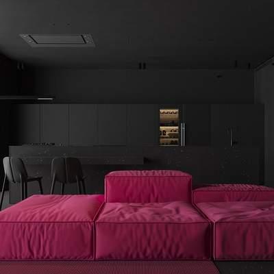 """Как выглядит черный интерьер киевской квартиры с розовой """"жемчужиной"""" фото"""