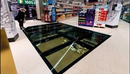 Тисячолітні руїни під скляною підлогою у мережі супермаркетів Lidl: фото