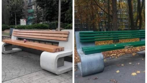В стиле ЖЭКа: в Киеве коммунальщики закрасили дизайнерские скамейки