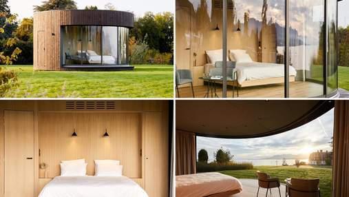 Панорамные окна с видом на Женевское озеро: фото круглой каюты во Франции с уютным интерьером