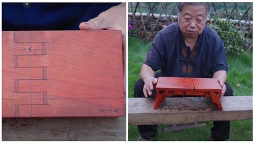 Не нужны ни клей, ни гвозди: плотник мастерит из дерева раскладные табуреты