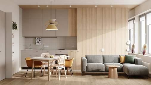 Комфортный семейный дом с нежными акцентами: визуализация и план квартиры