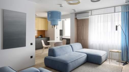 Компактные апартаменты в пастельно-голубом цвете от украинского дизайнера: фото