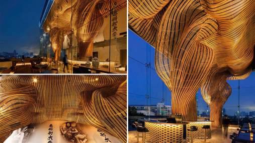 Волшебный фасад: в Таиланде создали ресторан с удивительными скульптурными формами из ротанга