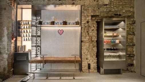 Пиксельная графика в дизайне: студия YOD Group создала современный интерьер кафе в Киеве